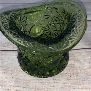 Vintage Small Olive Green  Glass Top Hat VASE